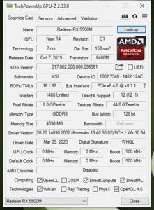 GPUz und CPUz des MSI Bravo 17