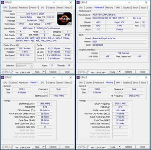 links oben: CPU-OC; unten links: RAM-OC mit DOCP; unten rechts: manuelles RAM-OC