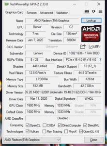 GPUz und CPUz des Lenovo Yoga Slim 7