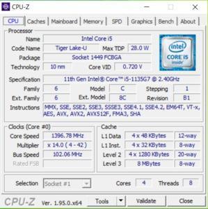 GPUz und CPUz des Acer Aspire 5 A515-56-511A
