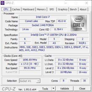 GPUz und CPUz des Aorus 15P XC-8DE