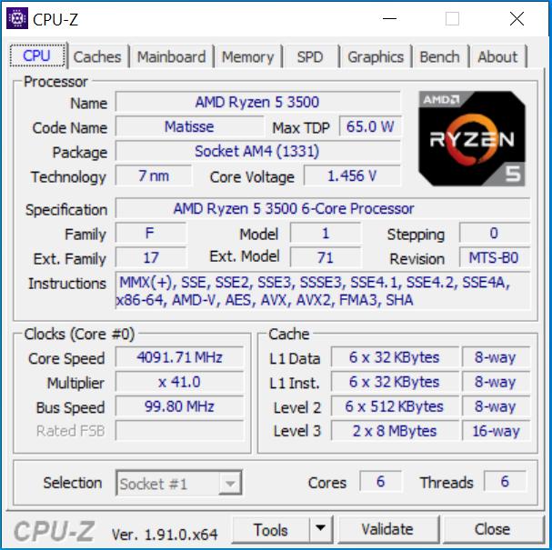 CPUz-Screen zum AMD Ryzen 5 3500