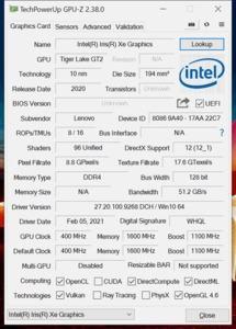 GPUz und CPUz des Lenovo ThinkPad X1 Nano