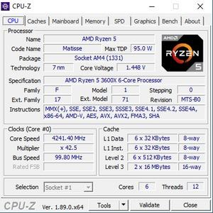 CPUz-Screen des AMD Ryzen 5 3600X