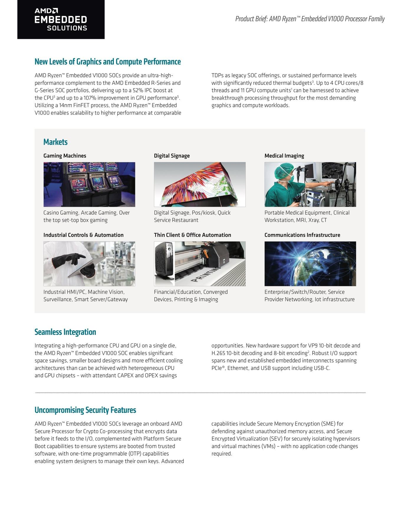 AMD представила процессоры Epyc Embedded и Ryzen Embedded