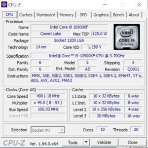 GPUz und CPUz des MSI MEG Infinite X