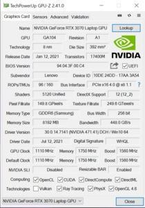 GPUz und CPUz des Lenovo Legion 7