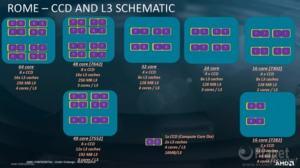 Verteilung der CCDs und L3-Caches in AMDs EPYC-Prozessoren