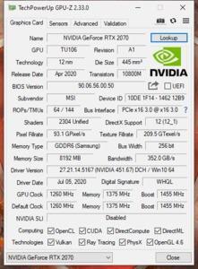 GPUz und CPUz des MSI GL75 Leopard 10SFR