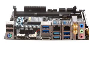 Das I/O-Panel beim ASRock H370M-ITX/ac im Überblick.