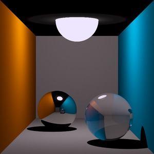 Rekursives Ray Tracing für spiegelnde und brechende Oberflächen (Thomas Kabir, CC BY-SA 2.0 DE)