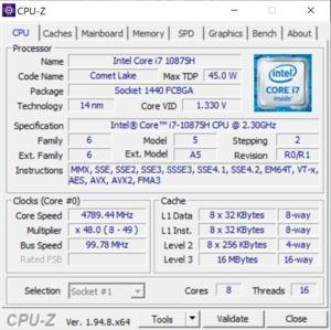 GPUz und CPUz des Dell XPS 17 9700