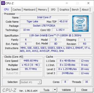 GPUz und CPUz des Gigabyte AERO 15 OLED XD