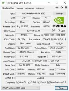 NVIDIA GeForce RTX 2080 Founders Edition - GPU-Z-Screenshot